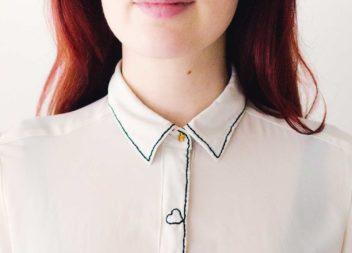 Trasformazione della camicia da stile d'ufficio a quello romantico.In metodo veloce е straordinario