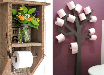 Portarotolo creativo con lo scaffale per la carta igienica. Idee