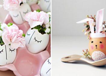 Mini vasi fioriti con gusci di uova. 25 idee