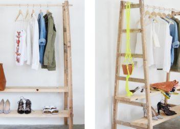 Rastrelliera per gli abiti fatta dalla vecchia scala