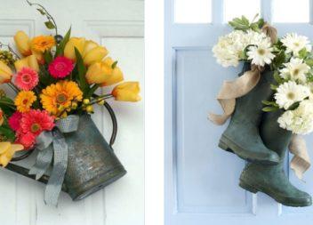 25 idee su ghirlanda e composizone floreale sulla porta