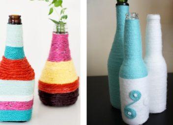 Vasi di primavera con le bottiglie. Master-class