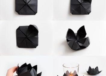 Creazione del loto nero in tecnica origami: master-class