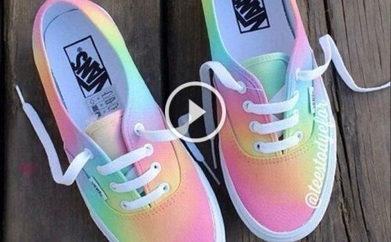 Idee su dipinto delle scarpe con i colori dell'arcobaleno: video-lezione