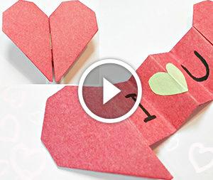 Cuore con un messaggio nella tecnica di origami. Video-lezione