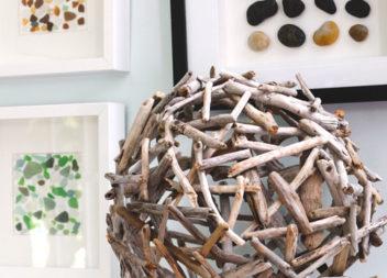 Sfera di legno come elemento d'arredo
