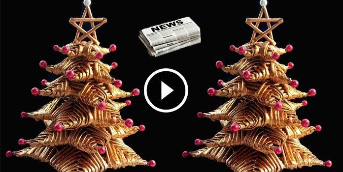 Albero di Natale dal giornale: video