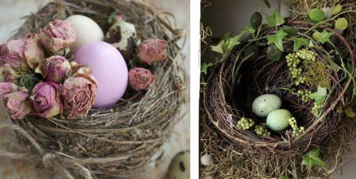 Idee su decorazione pasquale: nidi di uccelli. 25 idee